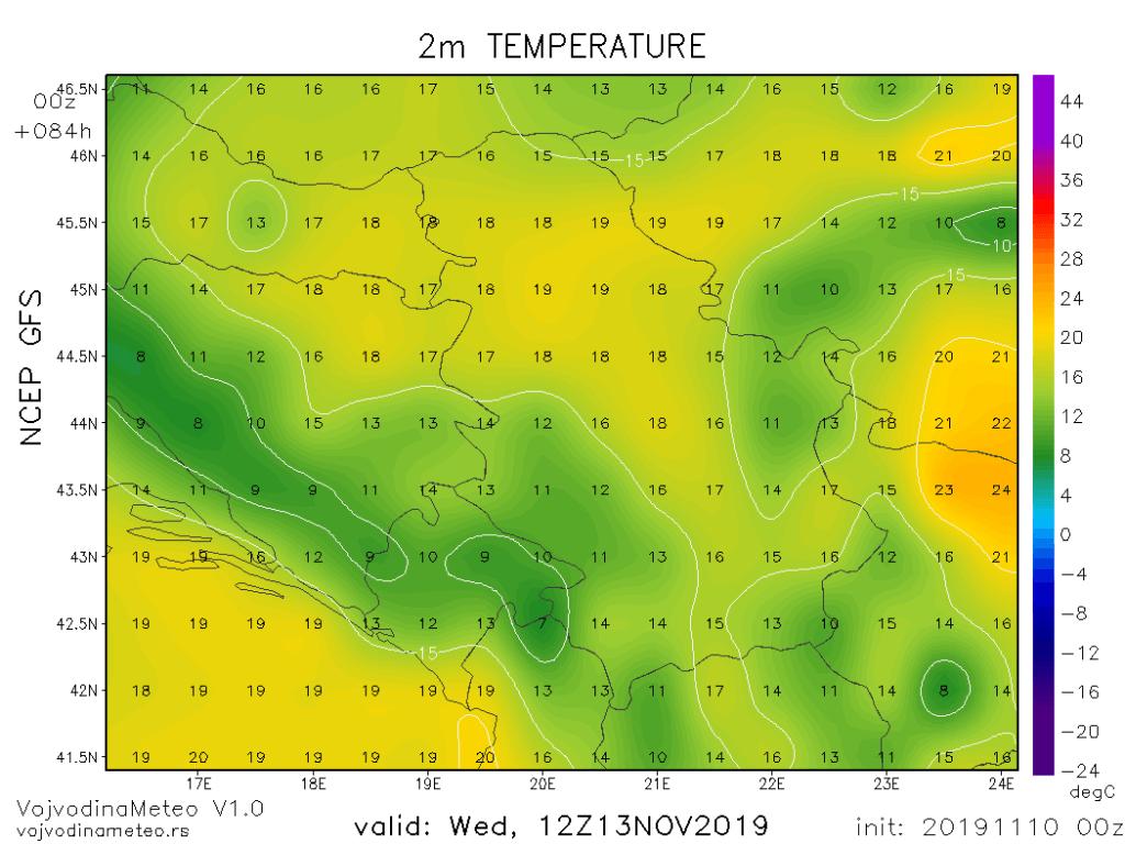 Visoke temperature za novembar u sredu (GFS)