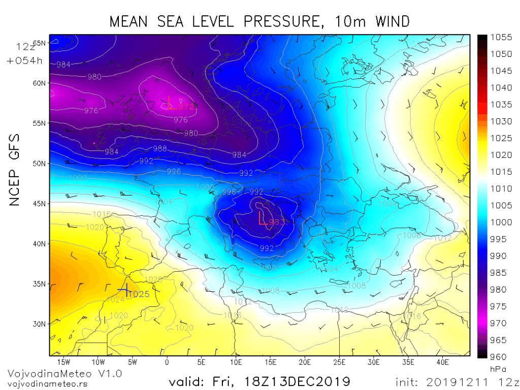 Dubok ciklon u Jadranu u petak (GFS)