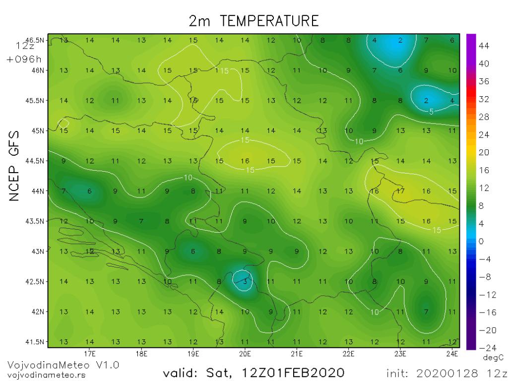 Dnevne temperature u subotu (GFS)
