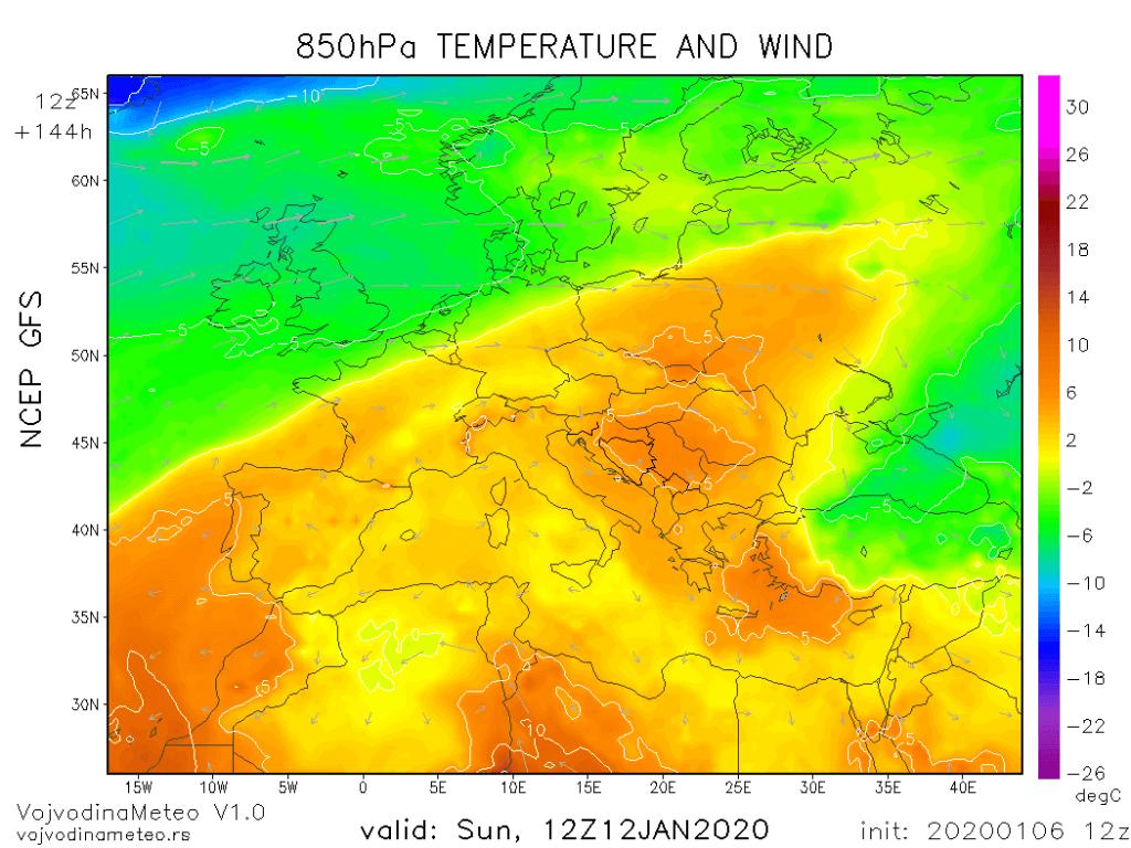 Topla vazdušna masa iznad većeg dela Evrope krajem sedmice (GFS)