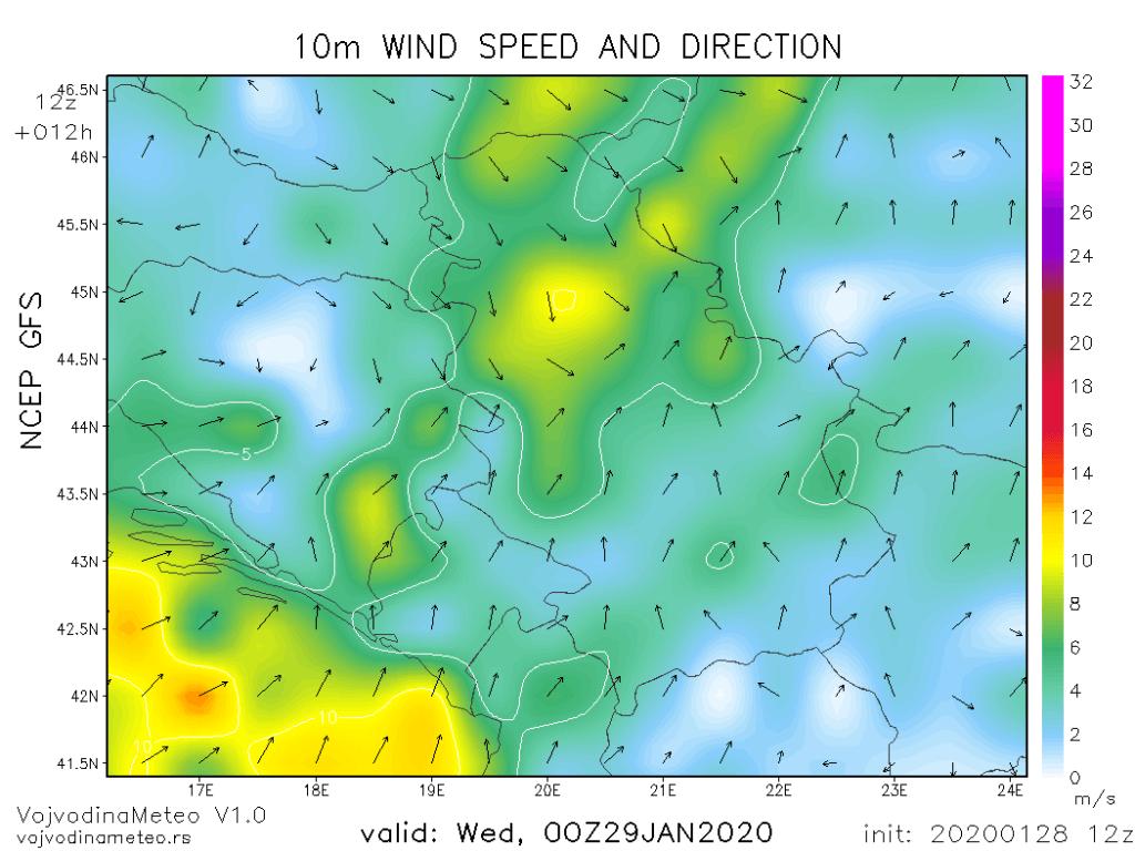 Uz prolazak fronta biće jakog severozapadnog vetra (GFS)