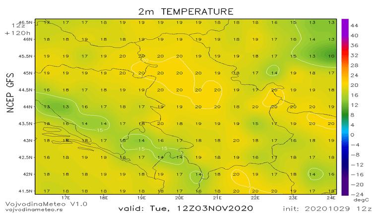 Temperature i do 20°C sledeće nedelje (GFS)