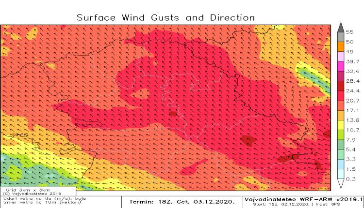 Udari vetra u četvrtak uveče (WRF)