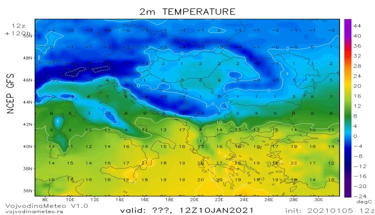 Dnevne temperature u regionu u nedelju 10. januara