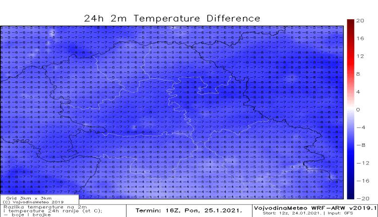 Razlika u temperaturi u odnosu na nedelju (WRF)