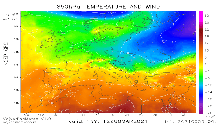 Hladna vazdušna masa za vikend (GFS)
