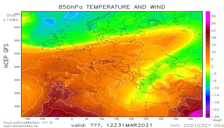 Topla vazdušna masa iznad većeg dela Evrope 31. marta (GFS)
