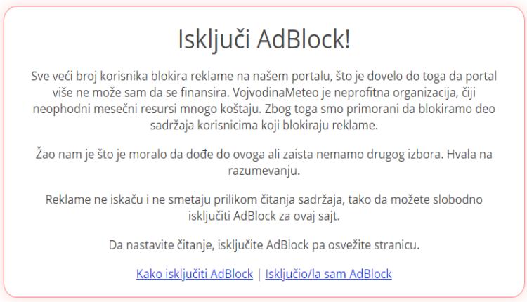 Isključi AdBlock poruka