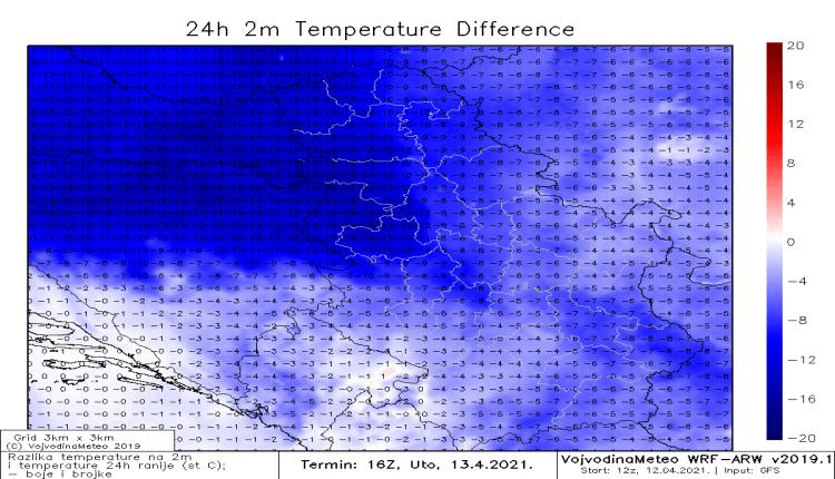 Razlika u temperaturi sutra kasno popodne u odnosu na danas (WRF)